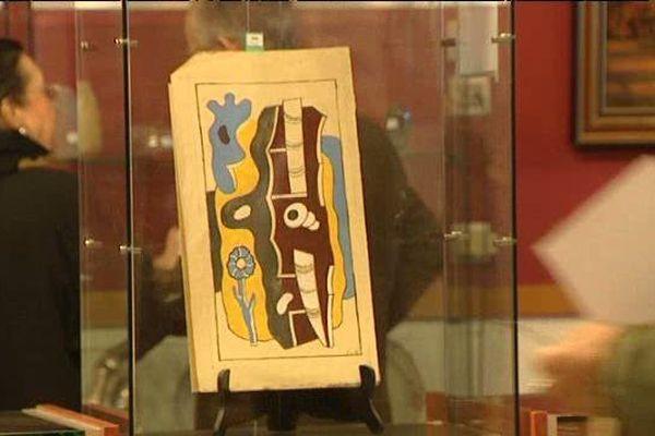 """L'oeuvre de 1936, """"Composition à la fleur"""", de Fernand Léger exposée à la salle des ventes de Poitiers."""