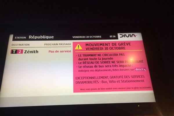 Un mouvement de grève perturbe le réseau Divia vendredi 20 octobre 2017