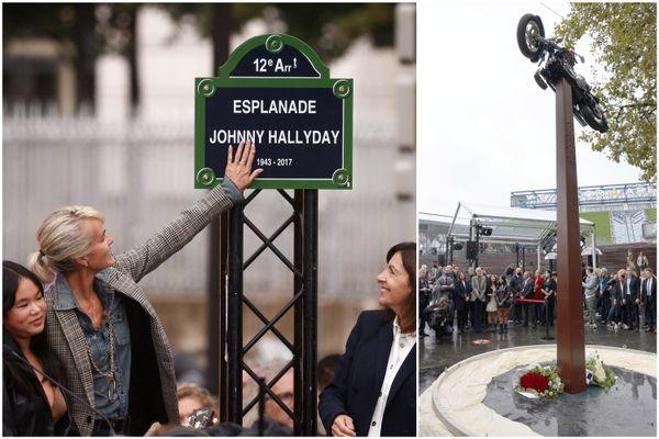 La nouvelle esplanade Johnny Hallyday à Paris (Bercy), inaugurée par Laetitia Hallyday le mardi 14 septembre 2021.