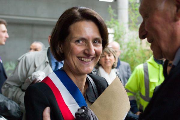 Montbeliard (Doubs, Franche-Comte) le 5 avril 2014 - Election du nouveau maire de la ville. Marie-Noelle Biguinet (UMP), succède a Jacques Helias (PS) et devient la premiere femme maire d'une grande ville de Franche-Comte.
