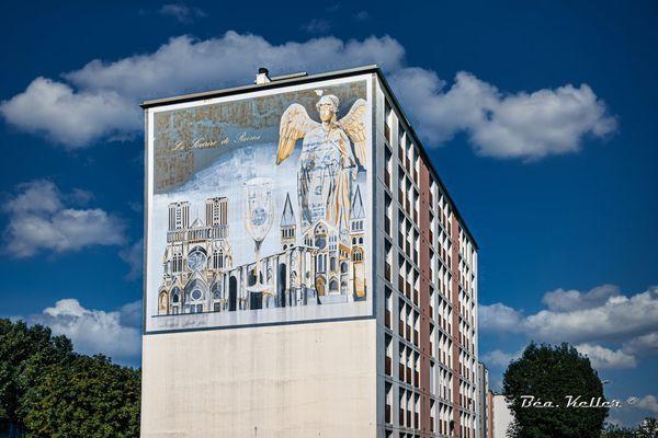 """La fresque du """"Sourire de Reims"""" date des années 80, et a bien vécu."""