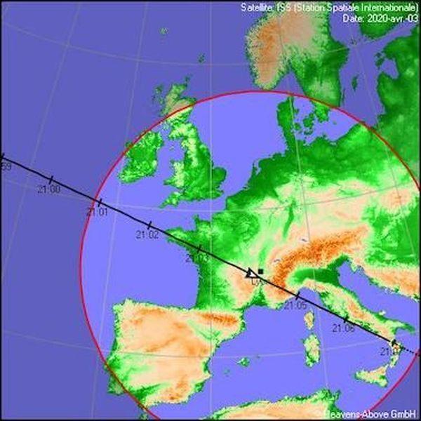 Carte du passage de l'ISS au-dessus de la France le 3 avril