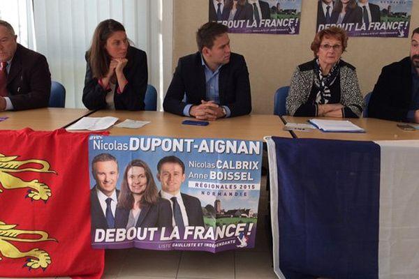 Debout la France, le parti de Nicolas Dupont-Aignan, a présenté ce samedi à Caen ses têtes de liste pour les régionales