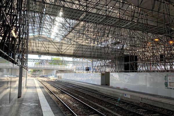 La gare de Troyes en travaux.
