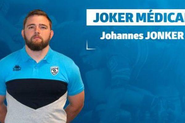 Le pilier sud-africain Johannes Jonker s'est engagé à Montpellier - novembre 2017.