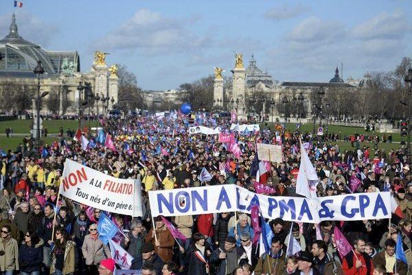 """La Manif pour Tous du dimanche 2 février 2014 avait rassemblé plusieurs milliers de personnes dimanche à Paris contre la """"familiphobie"""" prétendue du gouvernement, affirme-t-elle dans un communiqué."""