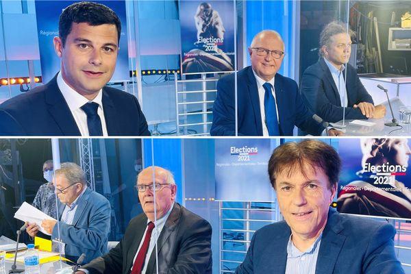 Sur le plateau de France 3 Bretagne, six candidats participent à un débat à l'occasion des élections départementales. De gauche à droite en haut : Romain Boutron (LR), Raphaël Le Méhauté (LREM), Pierre-Adrien Fetas (UDB). En bas, de gauche à droite : Philippe Carer (LFI), Gérard de Mellon (RN) et Christian Coail (PS)