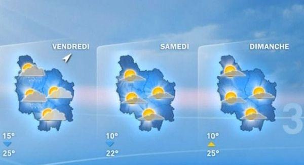 Les prévisions météo des vendredi 14, samedi 15 et dimanche 16 août 2015
