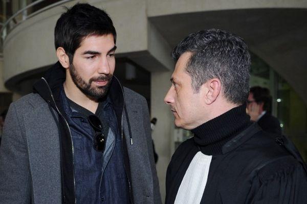 Montpellier - Nikola Karabatic et son avocat Mickael Corbier au palais de justice - 29 janvier 2013.