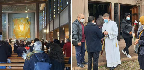 Des fidèles musulmans sont venus assister à la messe donnée en l'Eglise Saint-Laurent de Bischheim puis ont distribué des fleurs à la sortie de l'office