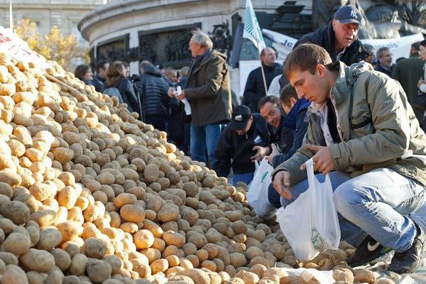 Paris ce mercredi 5/11/2014 : 50 tonnes de pommes de terres déversées dans les rues par la FNSEA en signe de protestation