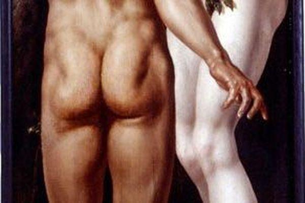 """Les fesses du Adam de Maarten van Heemskerck (détail du tableau """"Adam et Eve""""), au musée des Beaux Arts de Strasbourg."""