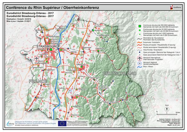 Le territoire de l'Eurodistrict Strasbourg-Ortenau englobe à l'Est l'Eurométropole et à l'Est l'arrondissement de l'Ortenau, de Lahr à Achern et jusqu'à Wolfach dans la Forêt Noire