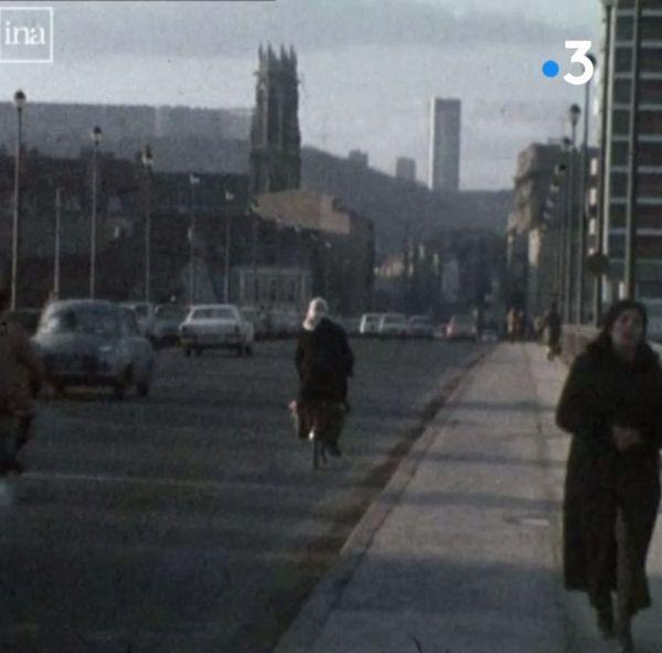 la tour panoramique depuis le viaduc Kennedy à Nancy (Meurthe-et-Moselle), au début des années 70.