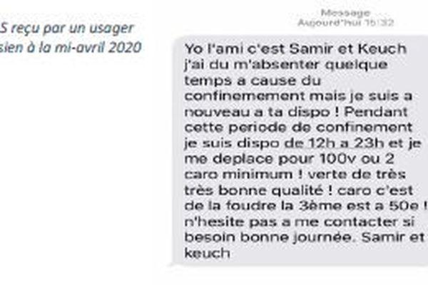 Ce SMS témoigne du montant minimum pour la livraison à domicile, SMS reçu par un usager mi-avril.