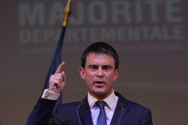"""Manuel Valls à Dombasle-sur-Meurthe le 17 mars 2015, en """"visite privée"""" à l'occasion des départementales."""