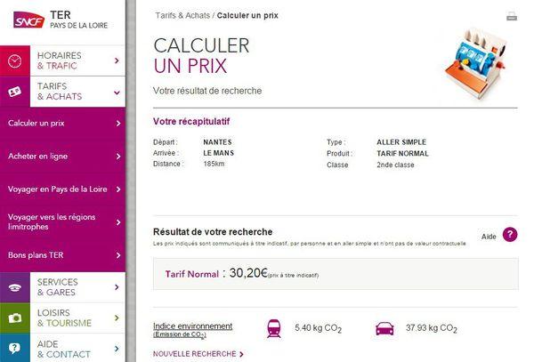 Copie d'écran du site web TER SNCF Pays de la Loire, précisant le prix du train subventionné par a région entre Nantes et Le Mans, sans mention de car low cost