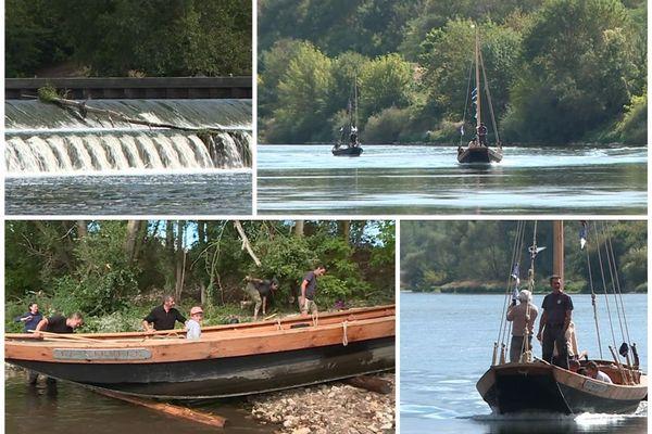 """Festival de Loire  : """"La Syvile"""" a dû surmonter le barrage de St Laurent-des-Eaux pour continuer son périple jusqu'à Orléans."""