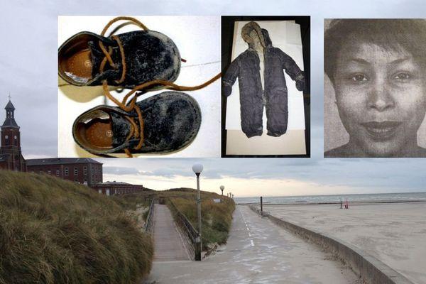 Les vêtements d'Adélaïde et le portrait de Fabienne Kabou. Photomontage sur la plage de Berck où le corps de la fillette a été retrouvé.