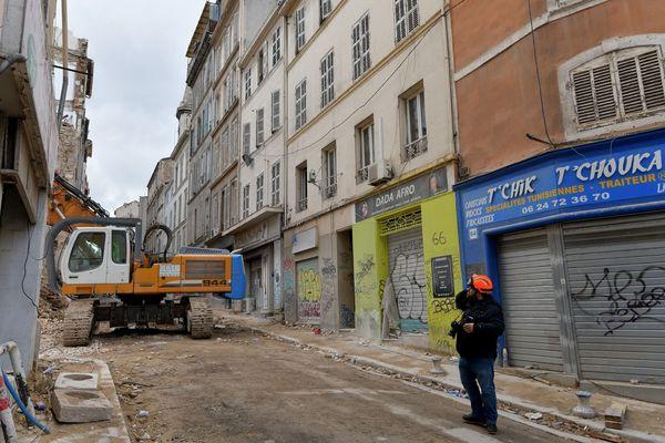 La rue d'Aubagne où se sont effondrés les immeubles n°63 et 65 causant la mort de 8 personnes.