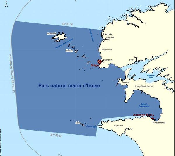 Les limites géographiques du parc naturel marin d'Iroise.
