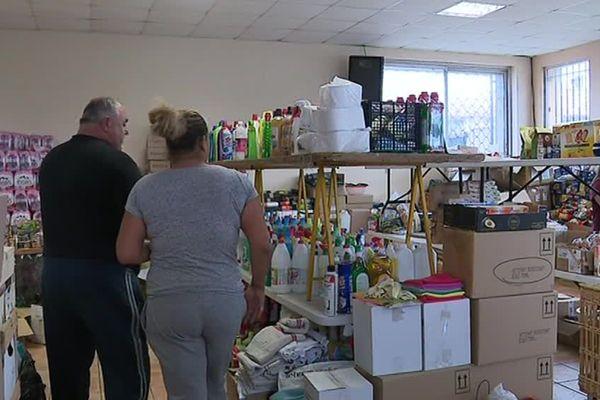 La salle de stockage des dons de la mairie de Trèbes a été remplie et vidée 10 fois depuis les inondations du 15 octobre 2018