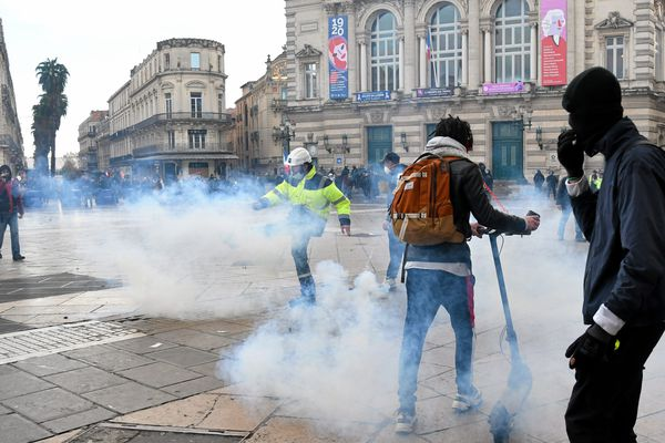 Manifestation des gilets jaunes à Montpellier le 1er février.