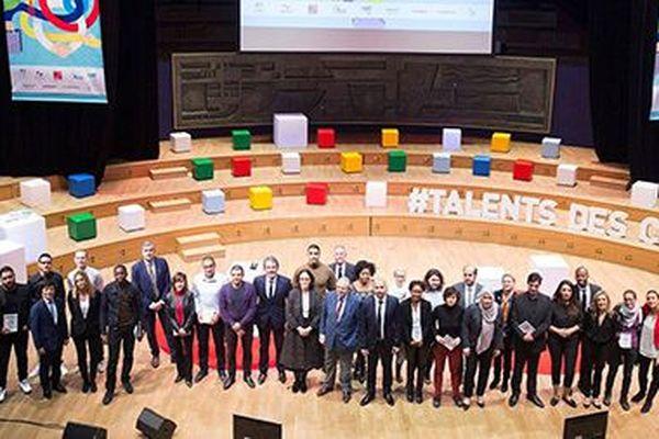 Les lauréats et les partenaires à la cérémonie 2018