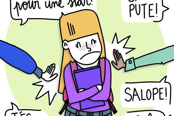 Les six BD traitent des différentes formes de violences sexistes et sexuelles, comme le mariage forcé ou le harcèlement scolaire