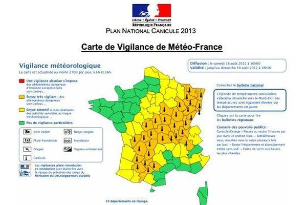 Les département en jaune foncé sont en vigilance niveau 2 (juste avant la vigilance rouge), donc en alerte météorologique.