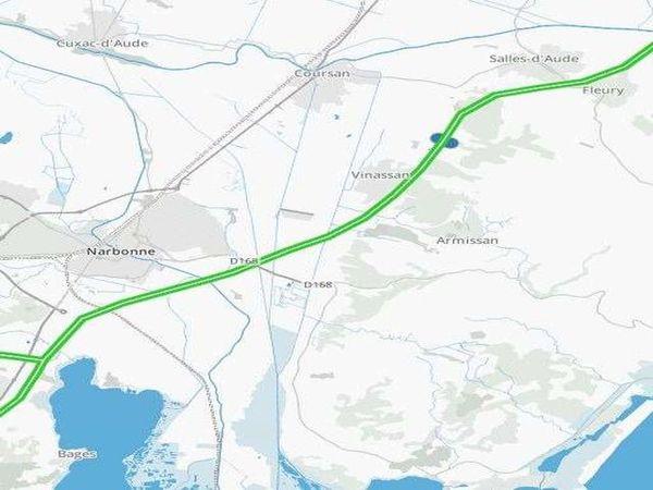 """La carte situant les portails de service ouverts sur l'A9 dans le cadre du """"Plan Inondation Vinassan"""""""