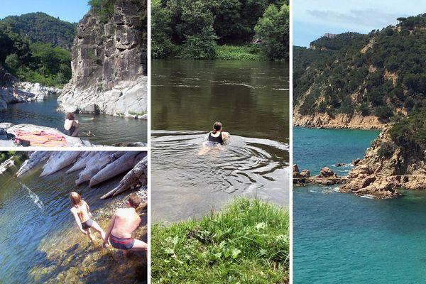 Les lieux de baignades ne manquent pas en Occitanie : criques le long de la mer Méditerranée, rivières du Lot ou de la Dordogne et vasques dans le Gard et l'Hérault.