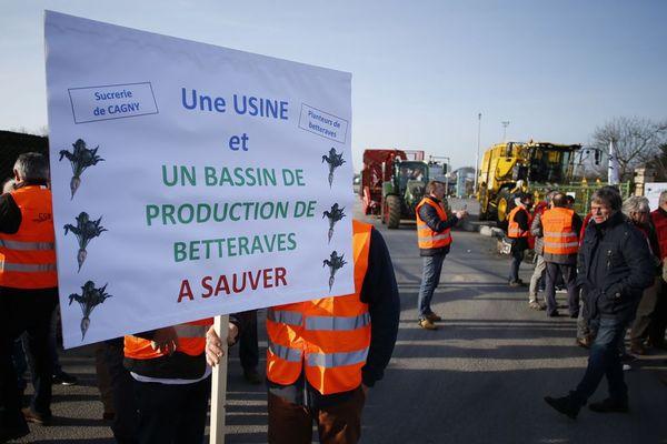 Manifestation devant la sucrerie de Cagny le 22 février 2019.