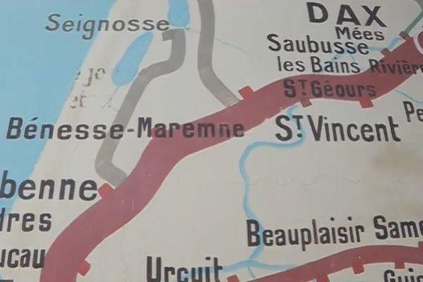 La ligne entre Labenne et Seignosse apparaît grisée après avoir été supprimée du réseau ferré