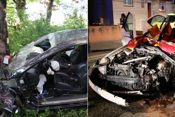 Deux violents accidents samedi, le premier à Lens (à gauche), le second à Liévin (à droite).