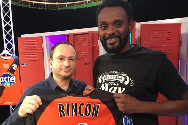 Carlos Rincon, joueur brésilien du Stade Lavallois invité de #USBFOOT, au côté de David Jouillat
