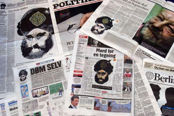 Caricatures controversées initialement publiées en septembre 2005 dans le journal danois Jyllands-Posten. Le dessin montrant le prophète Mohammed avec un turban en forme de bombe avait auparavant provoqué l'indignation dans le monde arabe.