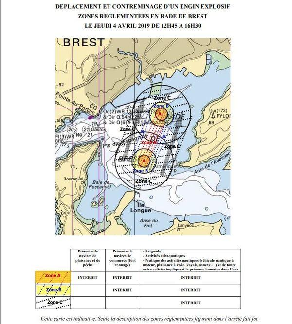 La zone interdite en rade de Brest