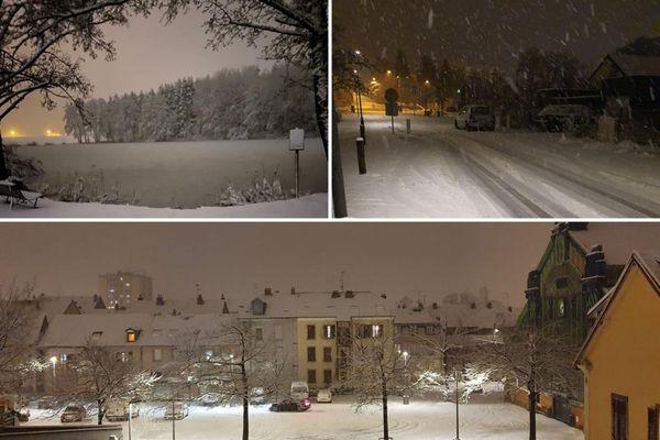 La neige a recouvert le Nord de la Franche-Comté. Ici à côté de Bessoncourt (en haut à droite), à Offemont (en haut à gauche) et à Belfort