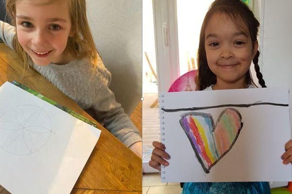 Romy et Noémie dessinent pour les résidents de la maison de retraite de Bonnières-sur-Seine depuis le début du confinement.