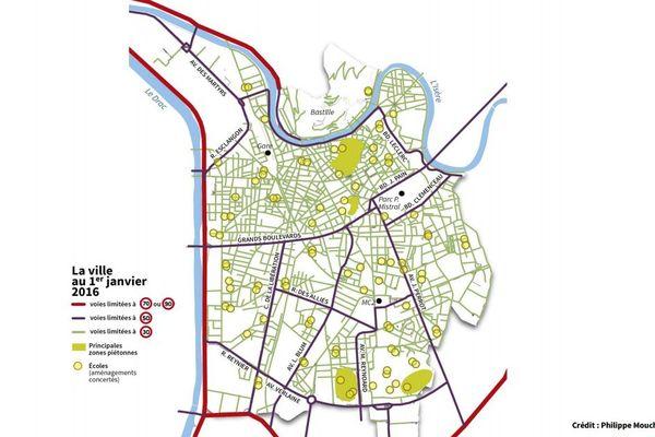 Le plan de circulation de Grenoble au 1er janvier 2016 : presque toute la ville sera en zone 30