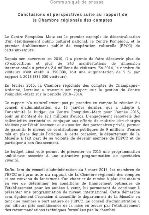 Les réponses de l'établissement au rapport de la Chambre Régionale des Comptes