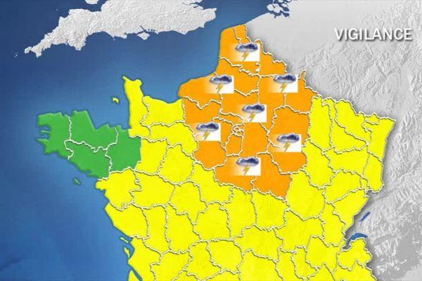 21 départements dont le Nord et le Pas-de-Calais ont été placés en vigilance orange.
