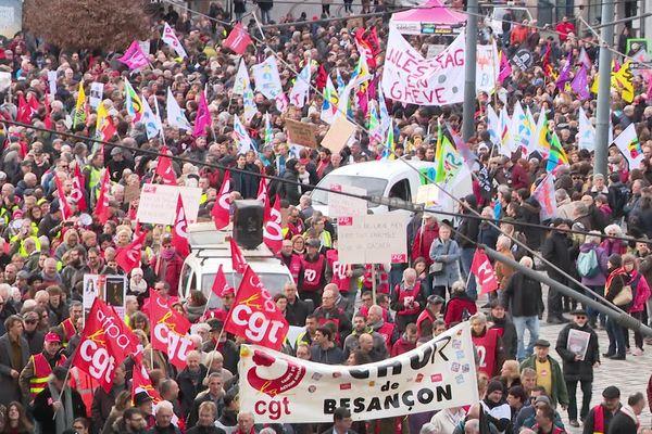 9 janvier 2020, manifestation contre la réforme des retraites à Besançon.