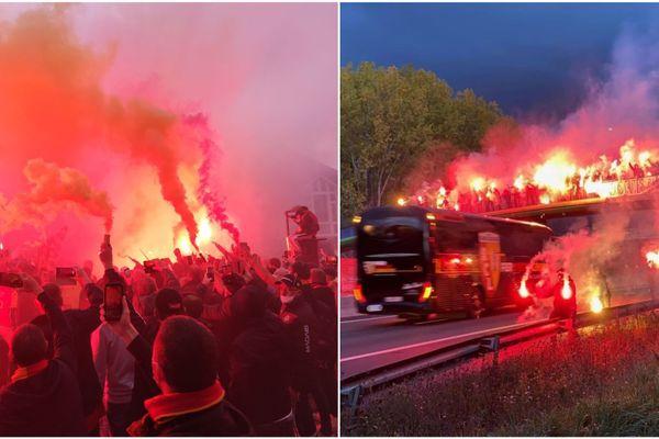 Les supporters du RC Lens accompagnent les joueurs en direction du stade Pierre-Mauroy avant le derby face au LOSC.