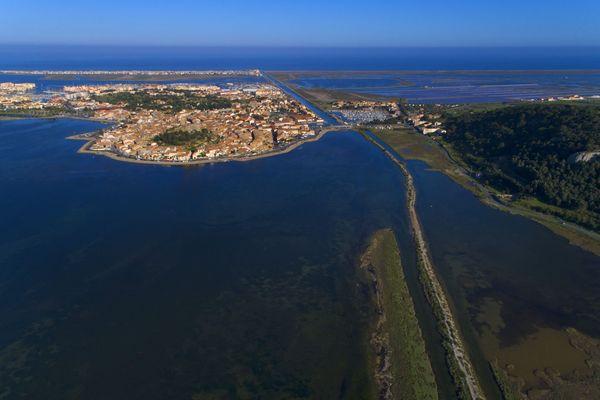 Vue aérienne de Gruissan, dans l'Aude.