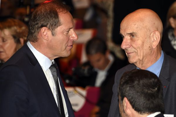 A gauche, Christian Prudhomme, patron du tour de France, et Yves Krattinger, président du département de la Haute-Saône