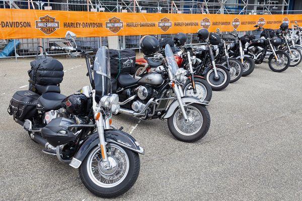 Une dizaine de Harley-Davidson, des motos mythiques aisément reconnaissables.
