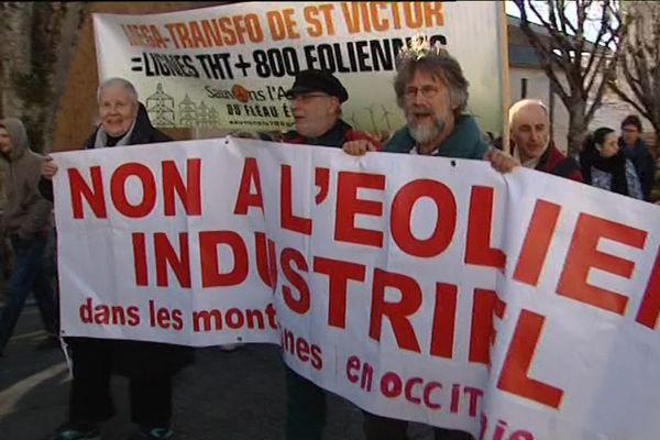 La manifestation anti éoliennes le 21 janvier 2017 à Rodez
