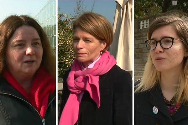 """De gauche à droite : Marie-Anne Chapdelaine (Députée socialiste), Isabelle Le Callennec (Députée Les Républicains) et Cécile Baudouin (Candidate """"La France insoumise"""")."""